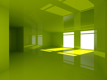 green office: green glossy 3d room
