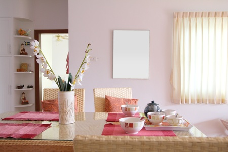 Home Decoration: dining room interior Stock Photo