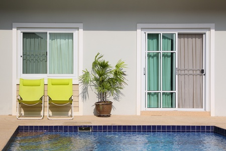 pool area in modern cottage