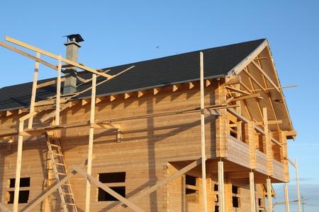 Holzhaus im Bau