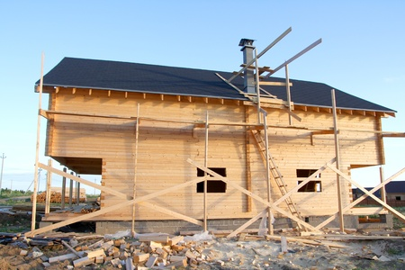 wooden house under construction Stock Photo - 10284783