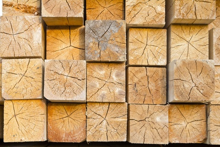 Wooden beams in stacks
