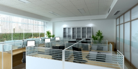 open floor plan: 3d office interior