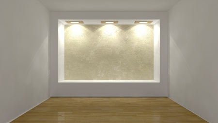 show cases: shined wall in an abstract interior Stock Photo