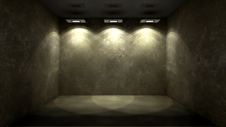 show case: shined wall in an abstract interior Stock Photo