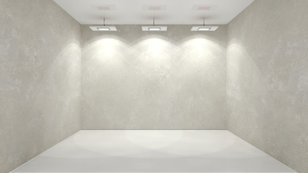 art gallery: shined wall in an abstract interior Stock Photo