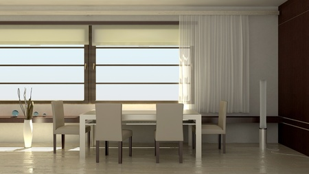 dining room 3d interior Stock Photo