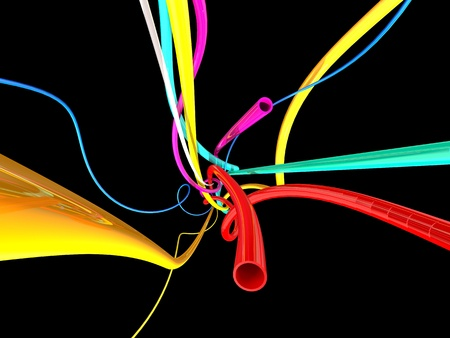 tubular: color wires and tubes abstract composition