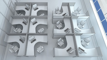 open plan office: very close office space