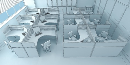 open floor plan: very close office space