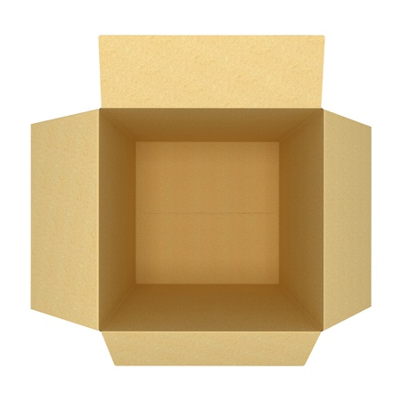 open empty cardboard box 3d
