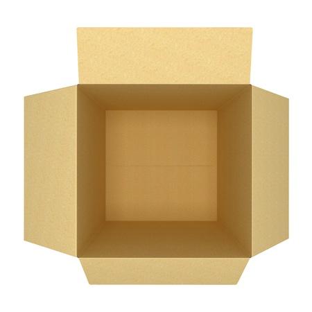 open empty cardboard box 3d