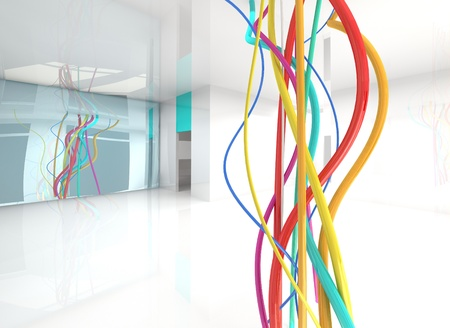 electricity background: color wires in abstract interior