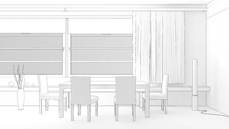 modern room interior sketch photo