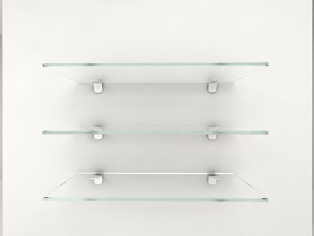 glass shelves on white wall Stock Photo