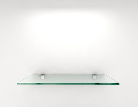 estanterias: estante de cristal en la pared blanca