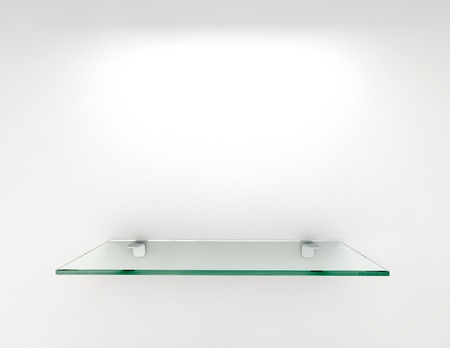 glass shelf on white wall Archivio Fotografico