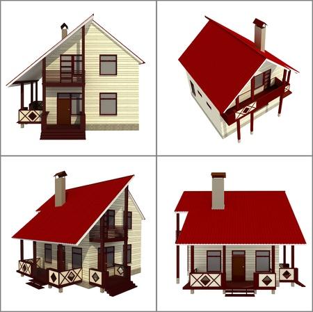 4 views of a small urban house photo