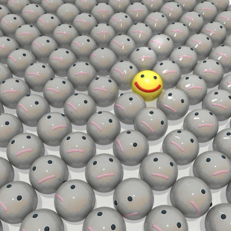 A happy smiley stands out from the crowd Stockfoto