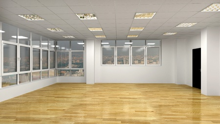 clear room with windows Standard-Bild
