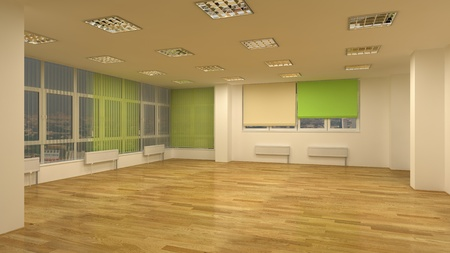 office scene: clear office interior with laminate