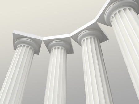 3d temple: white columns Stock Photo