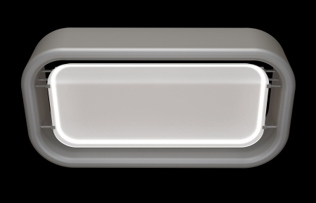 matte: gray matte plastic reception counter Stock Photo