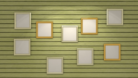wooden wall with blank frames photo