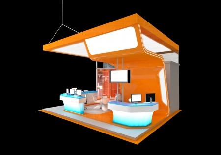 expo: orange exhibition stand Stock Photo
