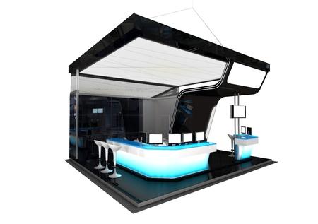 black exhibition stand Stock Photo