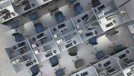Modern office open space interior top view Stock Photo