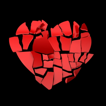 heart problems: red heart broken into peaces
