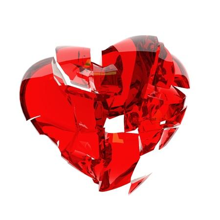 red heart broken into peaces