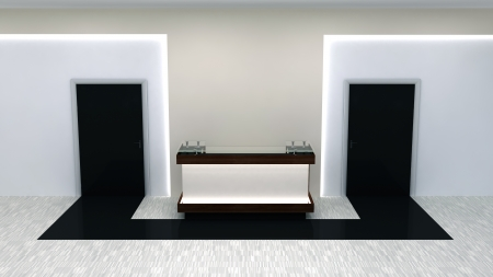 abstract office interior with doors and reception counter photo