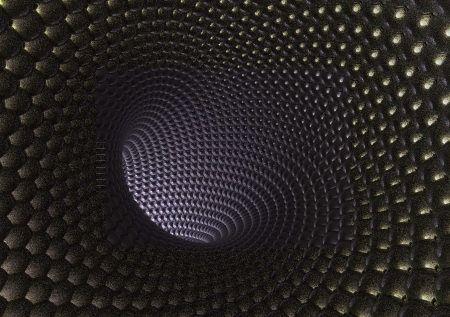 3D model of the nanotube made of thousand spheres