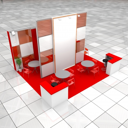 high resolution render of one modern exhibition stand photo