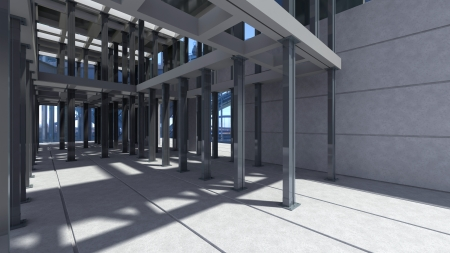high resolution render of one modern construction work area photo
