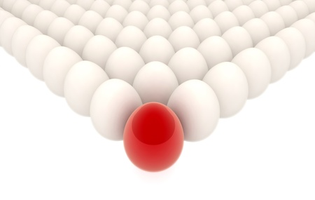 spetial: many eggs lined up in rows with spetial red one