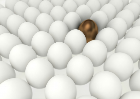 spetial: many eggs lined up in rows with spetial gold one Stock Photo