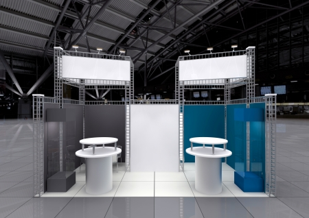 pos: modern exhibition stand with blank banners Stock Photo