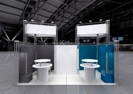 expositor: stand moderno con pancartas en blanco