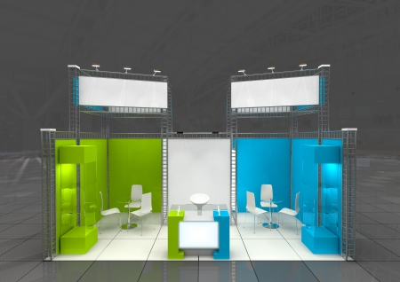 modern exhibition stand with blank banners Standard-Bild