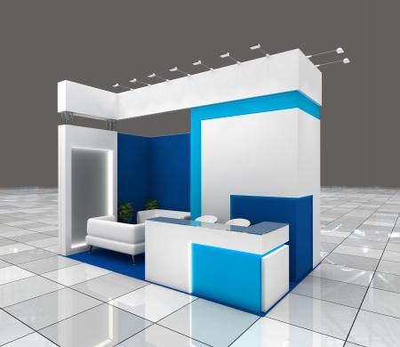 expositor: pequeña exposición de diseño de stand con pancartas en blanco y la iluminación Foto de archivo
