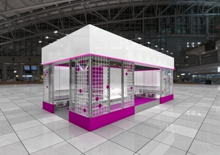 an exposition: moderno design stand espositivo con fregio bianco Archivio Fotografico