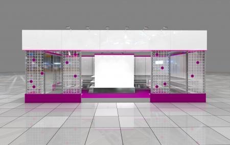 friso: exposici�n de dise�o moderno stand con friso en blanco Foto de archivo