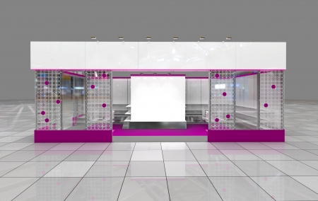 modern exhibition stand design with blank frieze Stock Photo