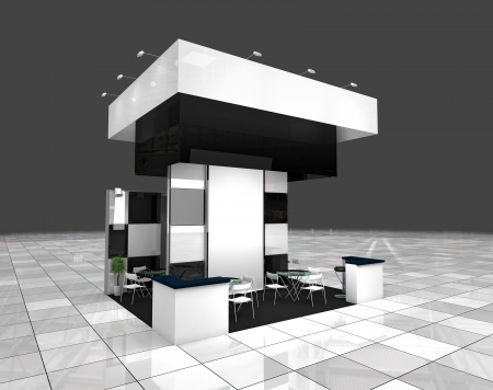 modern exhibition black and white stand design project photo