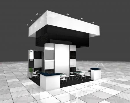 beursvloer: moderne tentoonstelling zwart-wit standontwerp project Stockfoto