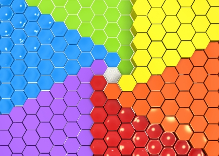 Extruded hexagon shapes collected in groups by colors