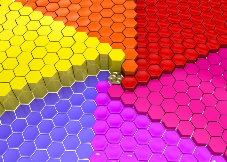 bunched: Geometrical shapes bunched in groups by colors Stock Photo